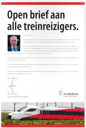 AnsaldoBreda stuurt open brief aan alle treinreizigers