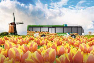 Bus met Tulpen voor Keukenhof Express