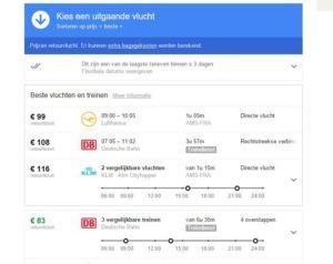 Diverse Europese treinen nu ook in Google Flights