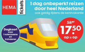 Goedkope treinkaartjes via Hema: NS dagkaart