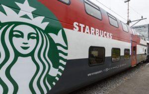 Starbucks koffie in Zwitserse treinen