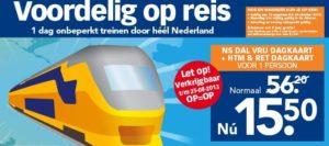 Goedkope treinkaartjes: Blokker Dal Vrij Dagkaart (januari 2015)