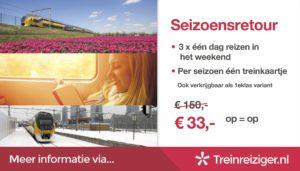 Seizoensretour: 3 treinkaartjes voor 33 euro (ook in 2017)