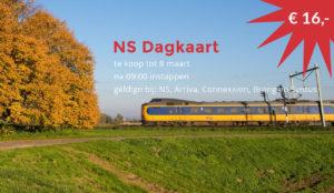 NS Dagkaart: 16 euro 2e klas of 21 euro 1e klas