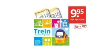 ETOS treinkaartjes: Geldig na 11:00u. € 9,95 p.p. (oktober 2017)