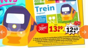 Kruidvat treinkaartje weekend: € 13,99. Reizen t/m 22 oktober